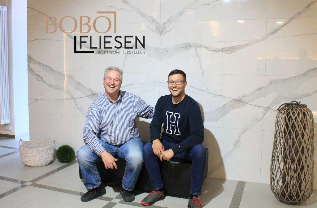 Bobo Fliesen Team von links: Dieter und Louis Schraudt