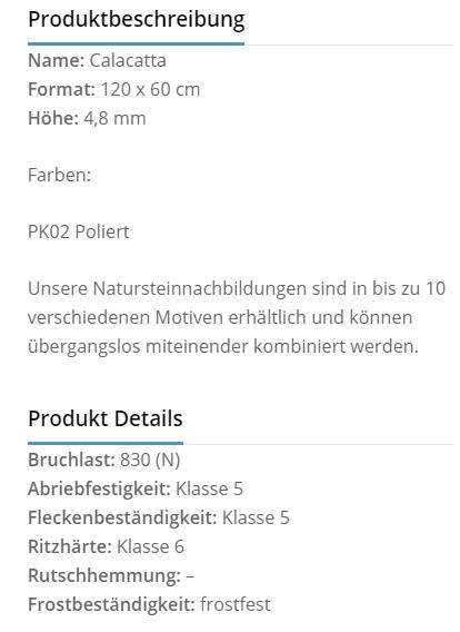 Fliesenhandel Würzburg - calcatta Produktbeschreibung