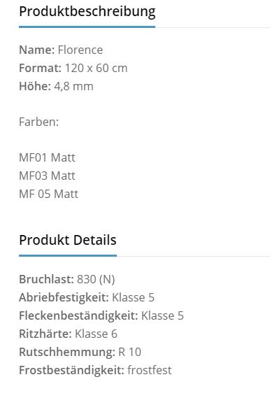 Fliesenhandel Würzburg - florence Produktbeschreibung