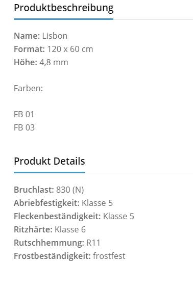 Fliesenhandel Würzburg - lisbon Produktbeschreibung